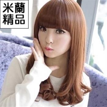 【米蘭精品】假髮整頂假髮中長假髮可愛齊瀏海捲髮尾流行