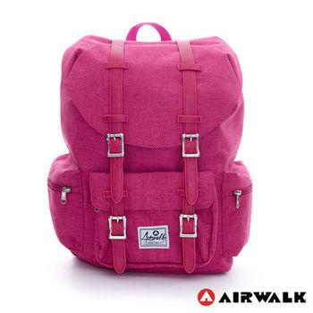 【美國 AIRWALK】學院風 抽繩束口袋筆電後背包(小)-深桃紅