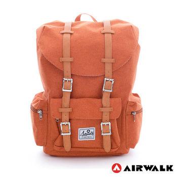 【美國 AIRWALK】學院風 抽繩束口袋筆電後背包(小)-中橘