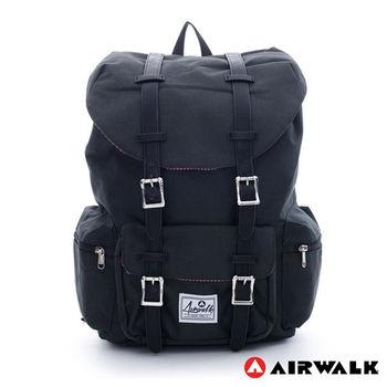 【美國 AIRWALK】學院風 抽繩束口袋筆電後背包(小)-黑