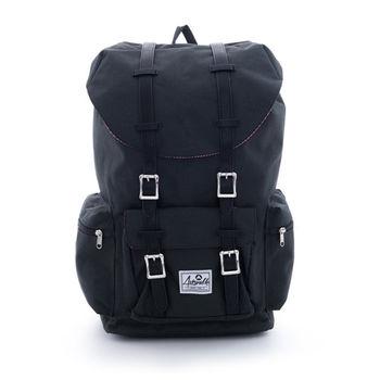 【美國 AIRWALK】摩登學院風 抽繩束口袋筆電後背包(大)-黑