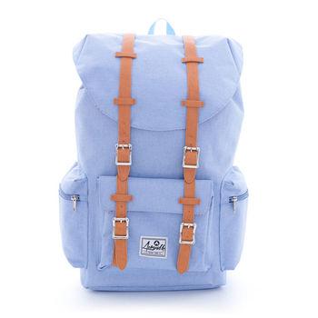 【美國 AIRWALK】摩登學院風 抽繩束口袋筆電後背包(大)-淺藍