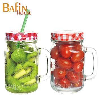 【Bafin House】syg 吸管/多用途 玻璃把手杯(2入組)