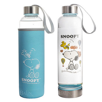 【SNOOPY】時尚 耐熱易潔玻璃瓶 550ml X1入(附套)