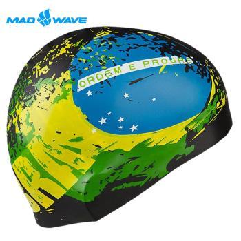 俄羅斯MADWAVE成人矽膠泳帽 BRAZIL送Barracuda矽膠耳塞
