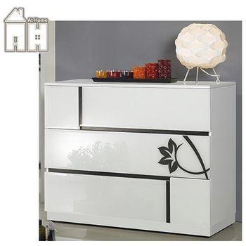 【AT HOME】薔薇3尺白玻烤三斗櫃