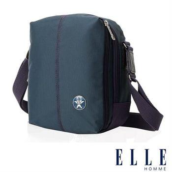 【ELLE HOMME】時尚巴黎風格輕量防潑水直立多層置物側背包(淺藍色EL83469-08)