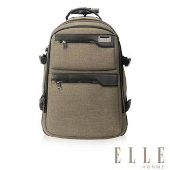 【ELLE HOMME】法式優雅時尚拉桿手提後背包三合一設計款(駝色EL83836-76)
