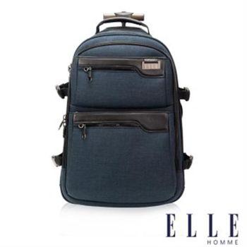 【ELLE HOMME】法式優雅時尚拉桿手提後背包三合一設計款(深藍色EL83836-08)