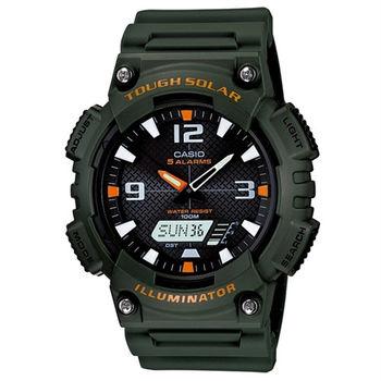CASIO 型男個性太陽能雙顯錶(墨綠錶帶)AQ-S810W-3A