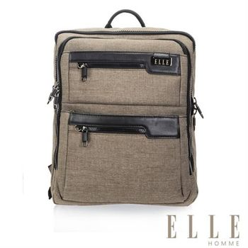 【ELLE HOMME】精湛優雅紳士風範 14吋筆電扣層極致機能後背包(駝色EL83831-76)
