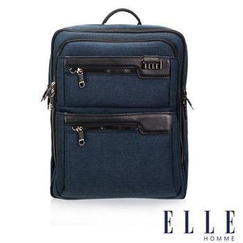 【ELLE HOMME】精湛優雅紳士風範 14吋筆電扣層極致機能後背包(深藍色EL83831-08)