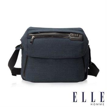 【ELLE HOMME】精湛優雅紳士風範單眼相機包 極致高質感橫式機能側背包(藍色EL83462-08)