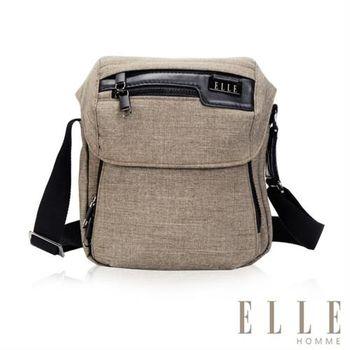 【ELLE HOMME】精湛優雅紳士風範 IPAD扣層直式掀蓋休閒側背包(駝色EL83461-76)