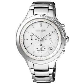 CITIZEN 奢華時尚 光動能真鑽三眼女用腕錶-36mm/FB4000-53A