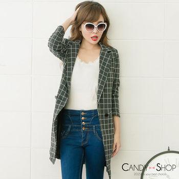 Candy小舖 韓版格子西裝長外套 - 灰色