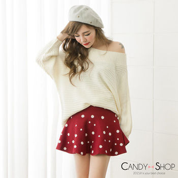 Candy小舖 高腰復古圓點針織傘狀短裙 - 紅色