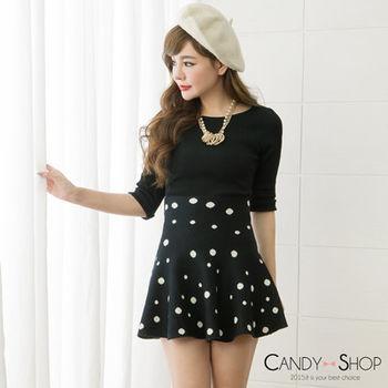 Candy小舖 高腰復古圓點針織傘狀短裙 - 黑色