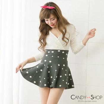 Candy小舖 高腰復古圓點針織傘狀短裙 - 灰色