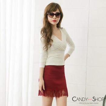 Candy小舖 流蘇針織短裙 - 酒紅色