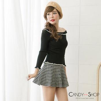 Candy小舖 高腰格子針織傘狀短裙 - 淺暗灰