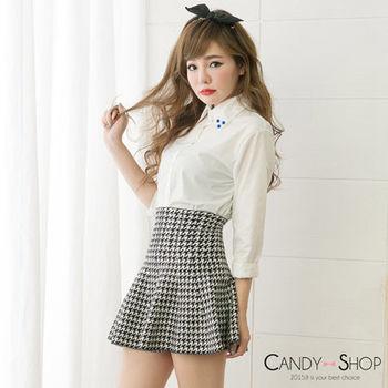 Candy小舖 高腰格子針織傘狀短裙 - 深織灰色