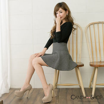 Candy小舖 高腰格子針織傘狀短裙 - 格子黑