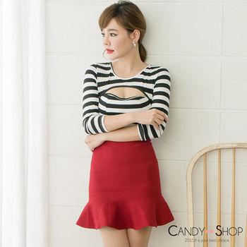 Candy小舖 素面荷葉針織包臀短裙 - 紅