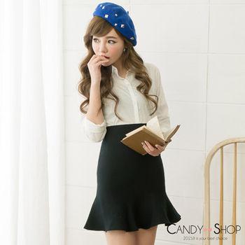 Candy小舖 素面荷葉針織包臀短裙 - 黑