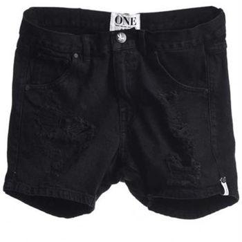 OneTeaspoon FOX BLACK HUSTLER 牛仔短褲-HUSTLER OTS - 女(黑)