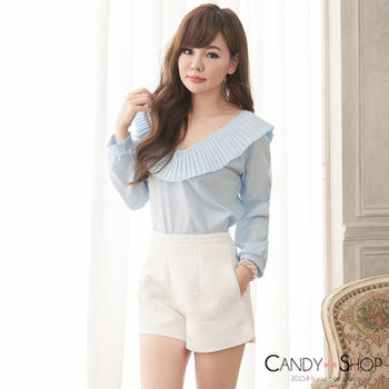 Candy小舖 性感荷葉V領長袖上衣 - 藍色