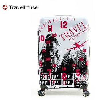 【Travelhouse】城市風旅 24吋PC超輕量可加大鏡面旅行箱(白色)