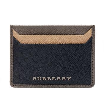 BURBERRY 經典TRICOLOUR系列銀色浮雕LOGO小牛皮票卡/證件夾(海軍藍)