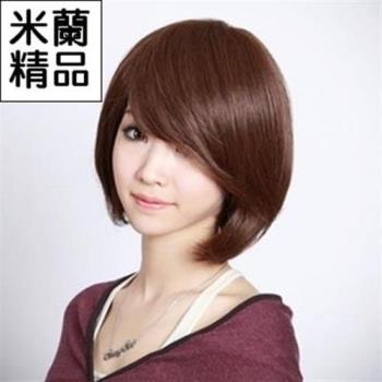 【米蘭精品】假髮整頂假髮短假髮斜瀏海時尚修臉逼真