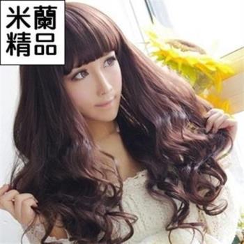 【米蘭精品】假髮整頂假髮長假髮齊瀏海蓬鬆波浪捲時尚