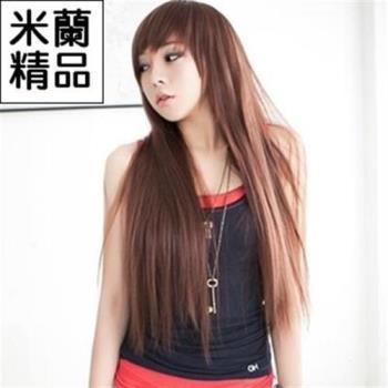 【米蘭精品】假髮整頂假髮長假髮齊瀏海時尚修臉長直髮