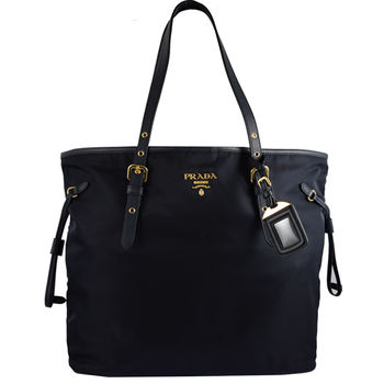 PRADA BR4997 經典浮雕Logo尼龍帆布束口大購物包.黑