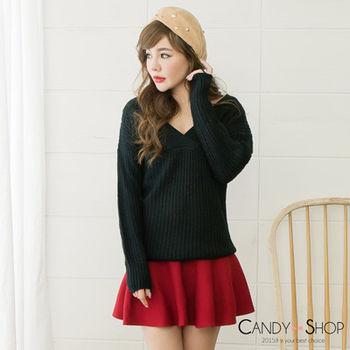 Candy小舖 V領寬鬆針織毛衣 - 黑色