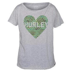 Hurley X Nike Dri-FIT 科技LOVE ME WEAVE DRI-FIT TEE T恤-DRI-FIT - 女(麻花/灰)