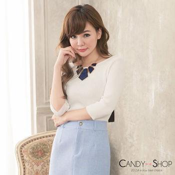 Candy小舖 美背緞帶蝴蝶結針織七分袖上衣 - 白色