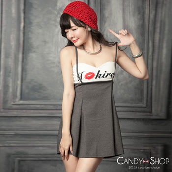 Candy小舖 印字低胸假二件吊帶短洋裝 - 灰色