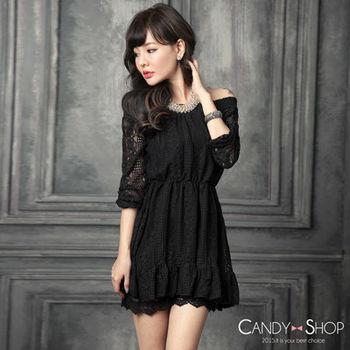 Candy小舖 甜美一字領緹花縮腰簍空長袖短洋裝 - 黑色