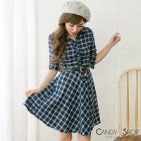 Candy小舖 前開襟排扣格紋附腰帶長袖洋裝 ^#45 藍色