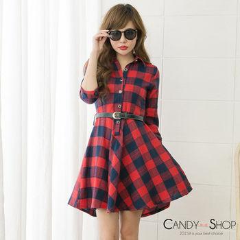 Candy小舖 前開襟排扣格紋附腰帶長袖洋裝 - 紅色