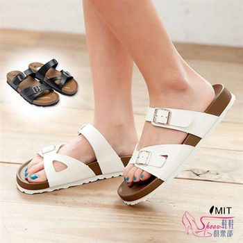 【ShoesClub】【023-B301】台灣製MIT 經典復刻雙側釦飾休閒拖鞋.2色 白/黑