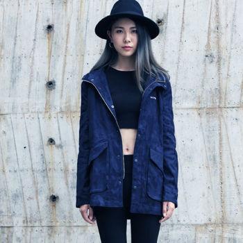 【DYC】中性時尚風格-迷彩丹寧長版立領連帽外套