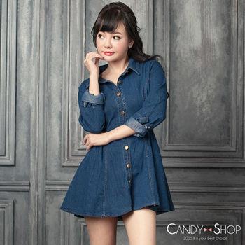 Candy小舖 牛仔丹寧縮腰前釦長袖短洋裝