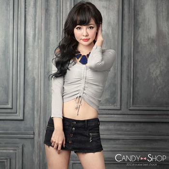 Candy小舖 雪花黑雙口袋拉鍊前排釦短褲裙