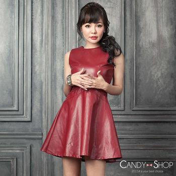 Candy小舖 率性皮革無袖腰間蕾絲後拉鍊傘狀下擺短洋裝 - 紅色