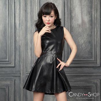Candy小舖 率性皮革無袖腰間蕾絲後拉鍊傘狀下擺短洋裝 - 黑色
